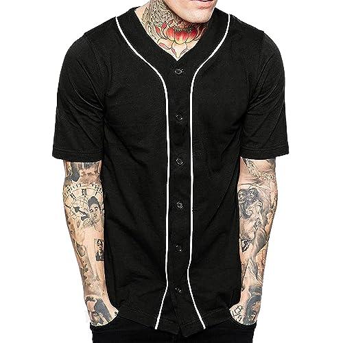 1d594f06 Hat and Beyond Mens Baseball Button Down Jersey Hipster Hip Hop T Shirts