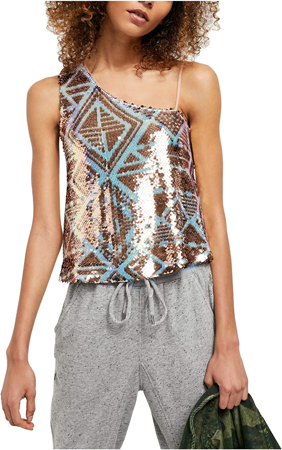 Free People Womens Max 72% OFF Large-scale sale Disco Fever One Sequined Shoulder Tank Top
