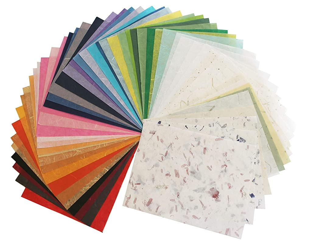 Assorted Color 65 Sheets 8.5x11 Inch Japanese Paper Sheet Design Craft Hand Made Art Tissue Japan Origami Washi Wholesale Bulk Unryu Suppliers Thailand Product Card Making Japanese Washi Collage Rice