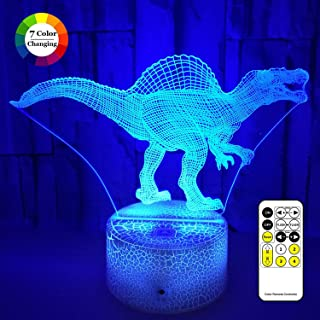 Dinosaur Toys 3D LED Illusion Lamp, Night Lights for Kids 7 Colors Changing Nightlight with USB Powered, Touch & Remote Control Best Birthday for Boys Girls Kids Baby