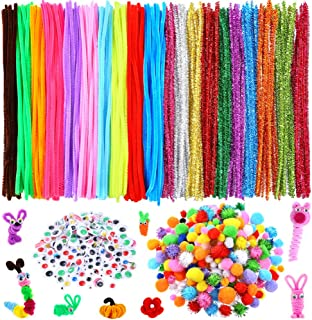 Caydo 750 Pieces Pipe Cleaner Sets, Including 250 Pieces Craft Chenille Stems, 300 Pieces Assorted Pompoms, 200 Pieces Wiggle Eyes for DIY Art Supplies