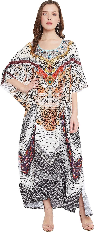 Gypsie Blu Plus Size Women's Kaftan Kimono Sleeve Polyester Loose Maxi Dress Digital Print Long Caftan for Resort Wear