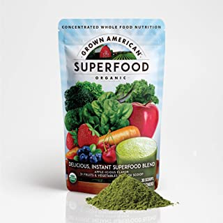 Grown American Superfood - 31 Organic Whole Fruits and Vegetables - Concentrated Green Powder - Increase Energy and Perfor...
