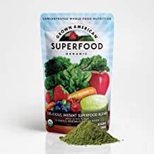 Grown American Superfood Ultra Organic Whole Fruits and Vegetables Concentrated Green Powder Antioxidants 100% Certified O...
