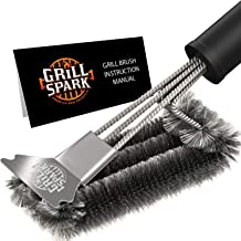 """Grill Spark Premium BBQ Grill Brush for Outdoor Grills with Scraper 18""""   Stainless Steel Barbecue Steam Cleaning Brush   ..."""