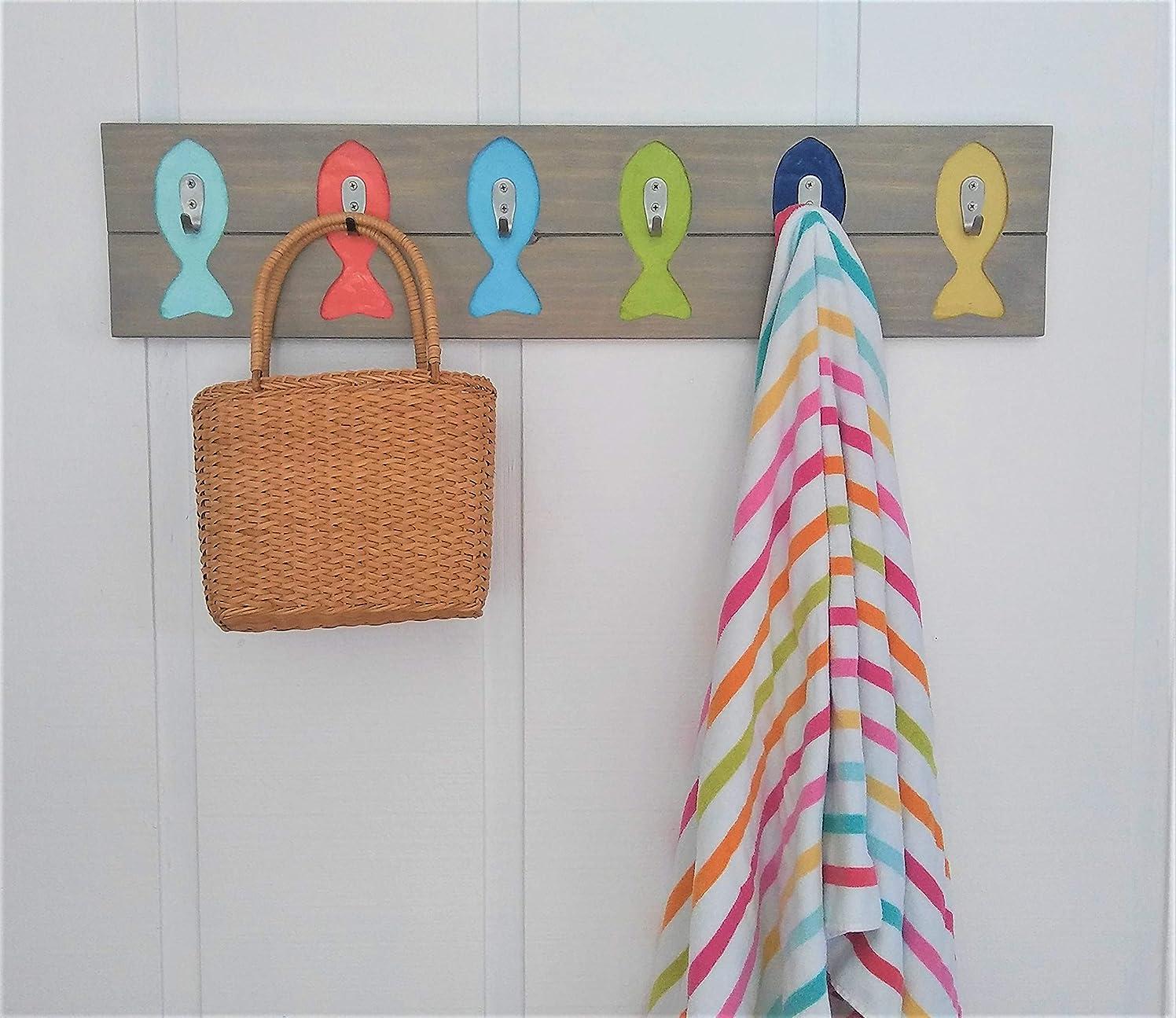 Handmade Indoor/Outdoor Fish Hat Towel Bathing Suit Pool Rack/Coastal Beach Hooks Multi on Brown