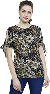 AASK Women's Black and Multicolor Floral Printed Crepe Top (AK_4150)