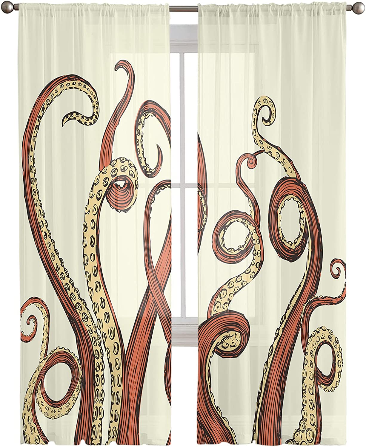 Sheer Max 74% OFF Curtains Voile Daily bargain sale Drapes for See Bedroom Room Living Throug
