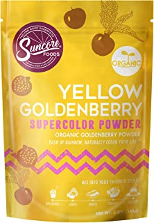 Suncore Foods – Organic Goldenberry Powder - Natural Yellow Goldenberry Supercolor Food Coloring Powder, Plant Based, 5oz