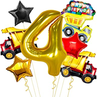 Construction Balloons 4th Birthday Decorations - Large Gold Number 4 Balloons 40 Inch | Big 32 Inch Construction Truck Bal...