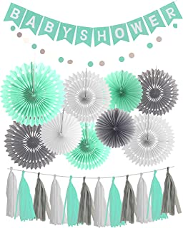 Mint Grey Baby Shower Decorations, Mint Grey White Elephant Baby Shower Supplies, Mint Bridal Shower Decorations, Mint Grey Birthday Party Decor