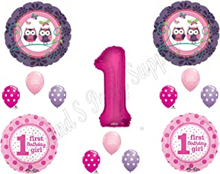 1st Birthday OWL PAL Party Balloons Decoration Supplies First Woodland Purple