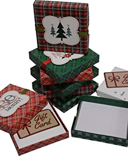 Christmas Gift Card Holders 4 Inch, Red and Green with Ribbon and Glitter, for Holiday and Party Favors (Set of 8)