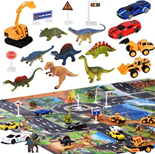 Joyjoz 12 Dinosaur Toys for Boys,Toy Cars with Play Mat, Kids Car Play Set,5 Racing Model Cars, 4 Engineer Vehicles, 18 Traffic Signs, STEM & Educational Gift Toys for Boys, Girls with Storage Box