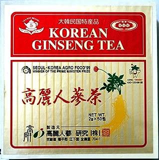 KOREAN GINSENG TEA Wooden Box with 50 Tea Bags - NET WT 3.5 oz (100 g)
