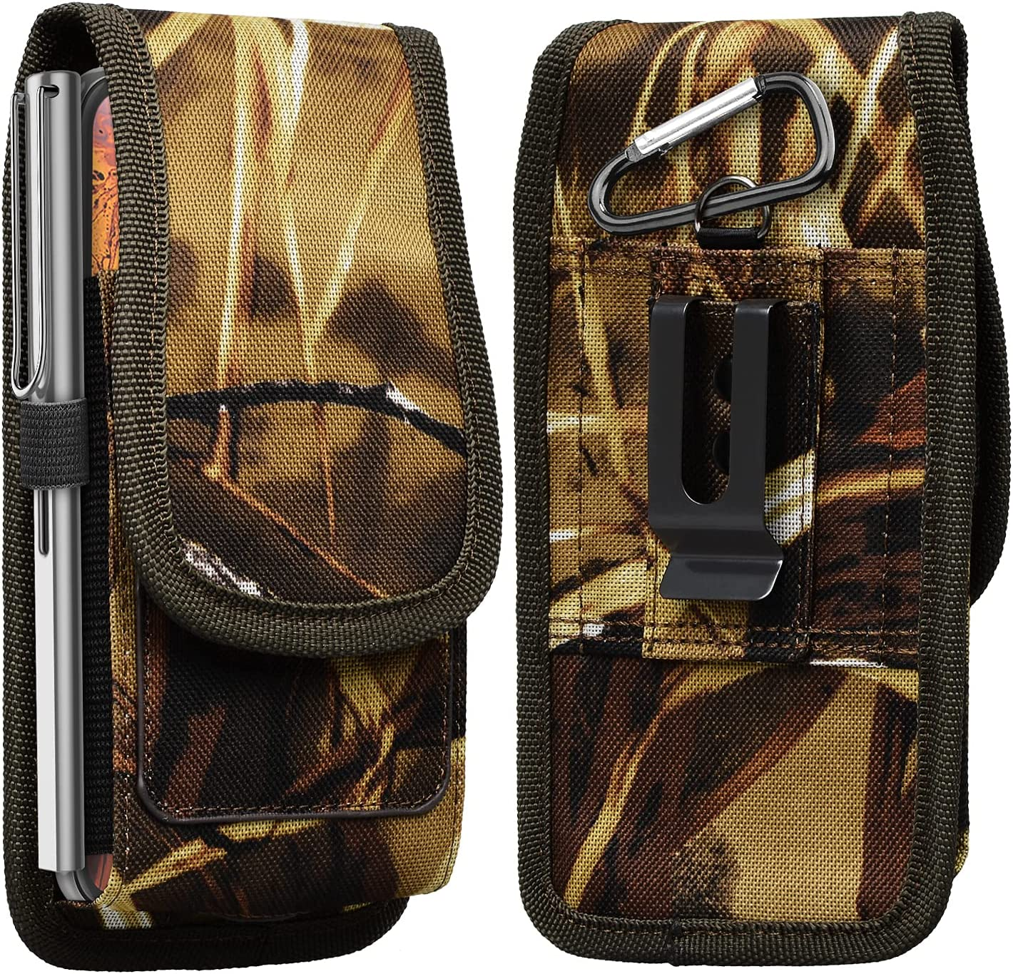 Takfox Phone Holster for Samsung Galaxy S21 Ultra S20 Plus S10+ S9 S8 J7 J3 Note 20 10 A02s A12 A01 A11 A21 A51 A71 A10e A20 A30 Nylon Cell Phone Belt Clip Holster Carrying Pouch w Card Holder,Camo