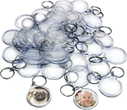 50 Clear Round Acrylic Photo Keychains- Circle Translucent Keyring - Wallet Friendly Key Ring for Custom Personalised Insert Pictures - Plastic Keychain Suitable for Women and Men