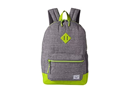 Herschel Supply Co. Kids Heritage Youth XL Backpack (Youth) (Raven Crosshatch/Lime Green) Backpack Bags