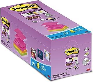 Post-it Z-Super Sticky Lot de 16 Blocs de Notes repositionnables 76 x 76 mm Néon
