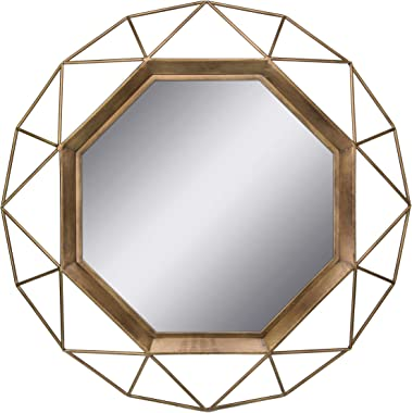 Stonebriar Geometric Wall Mirror, SB-6137A, Metal Glass, Gold, 30 x 30