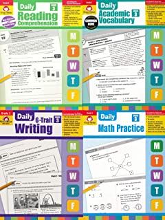 Evan Moor Grade 3 Daily 4 Book Set ( 6-Trait Writing, Academic Vocabulary,Math , Reading )