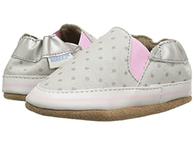 Robeez Dot Mania Soft Sole (Infant/Toddler) (Metallic Grey) Girl