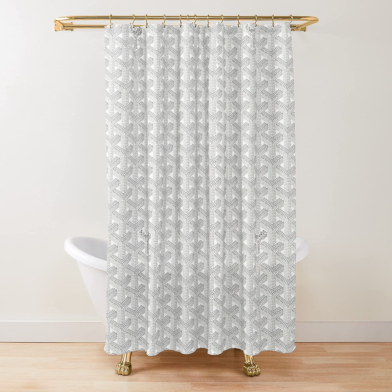 White Direct stock discount Goyards Fabric half Shower Bathroom Curtains Customize Printed