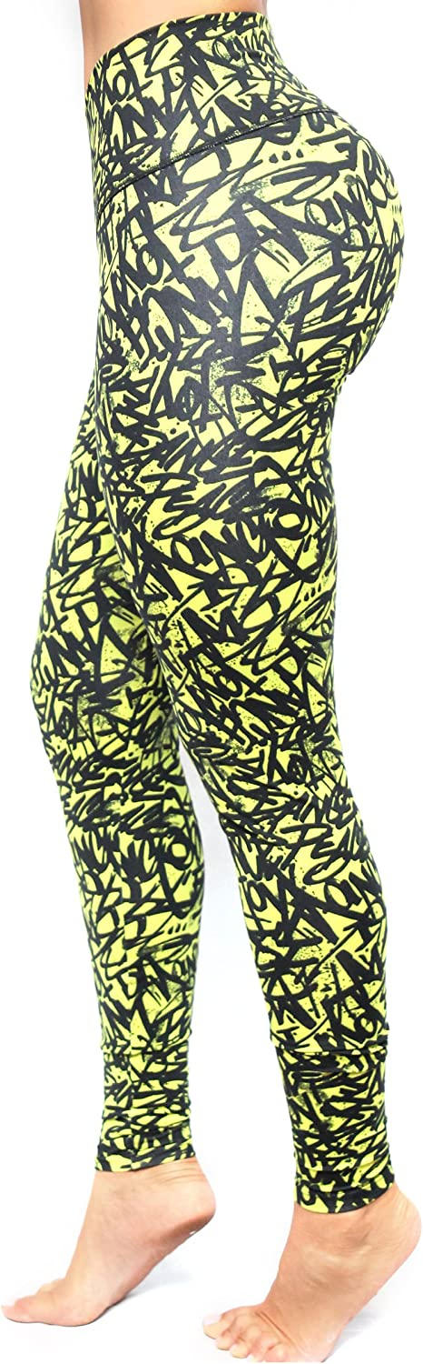 Bon Bon Up Compression Leggings with internal body shaper multycolor stamped green