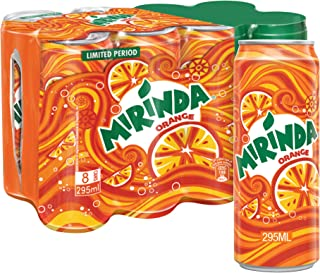 Mirinda Orange, Carbonated Soft Drink Cans, 8 x 295 ml