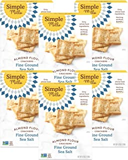 Simple Mills Almond Flour Crackers, Fine Ground Sea Salt, Gluten Free, Flax Seed, Sunflower Seeds, Corn Free, Good for Sna...