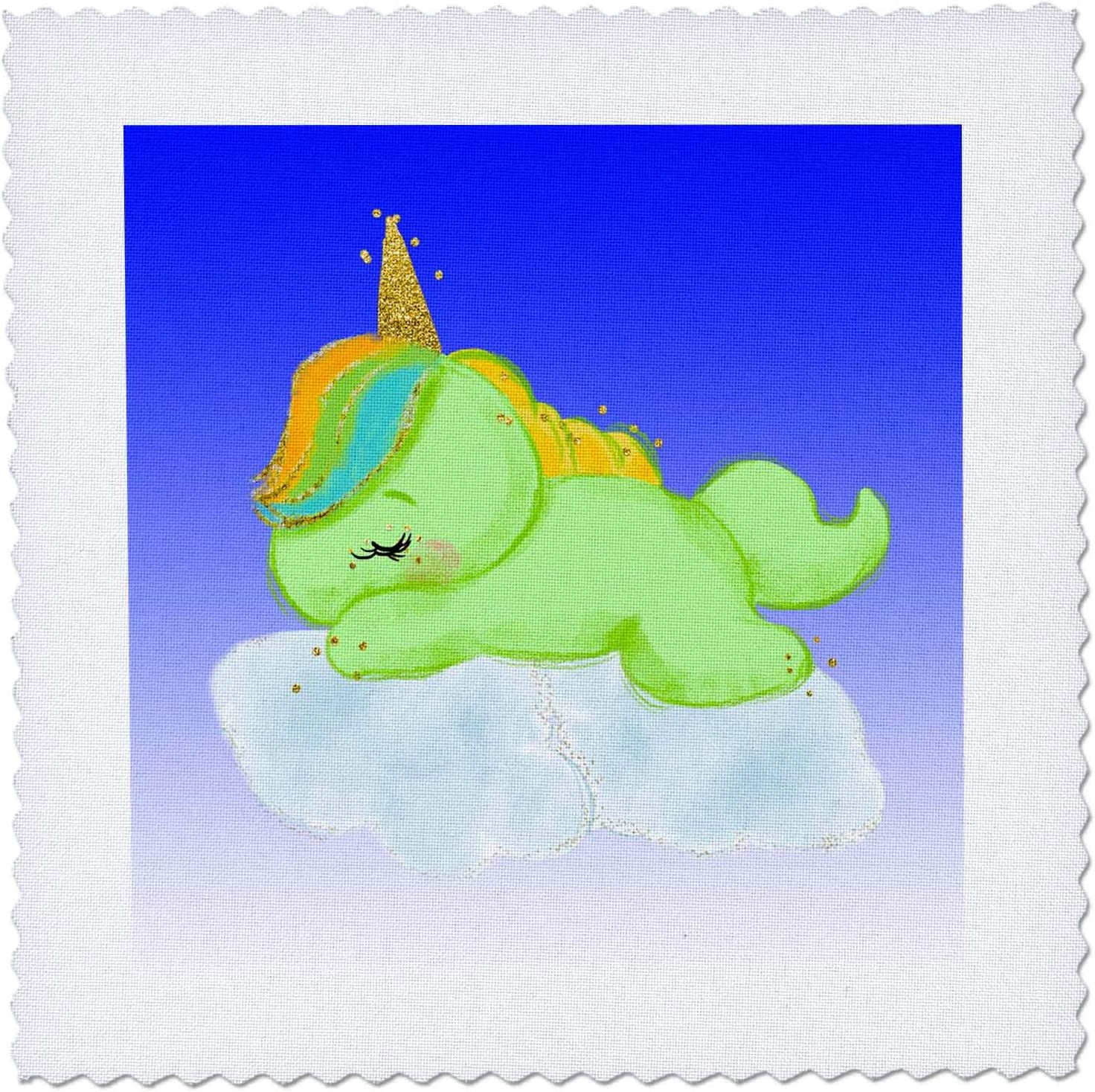 3dRose Green Unicorn Sleeping on Clouds with Sky It is very popular - Blue 3DRAMM Max 49% OFF