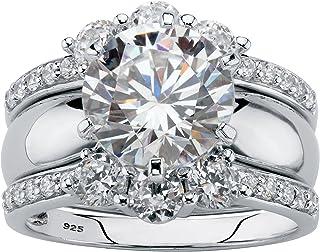 White Gold Ring Set 925 Sterling Silver Ring Set Moissanite Ring Set 3709 Spit Shank Cross Over Ring Set Wedding Ring Set