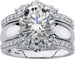 Platinum over Sterling Silver Round Cubic Zirconia 2 Pair Solitaire Jacket Bridal Ring Set