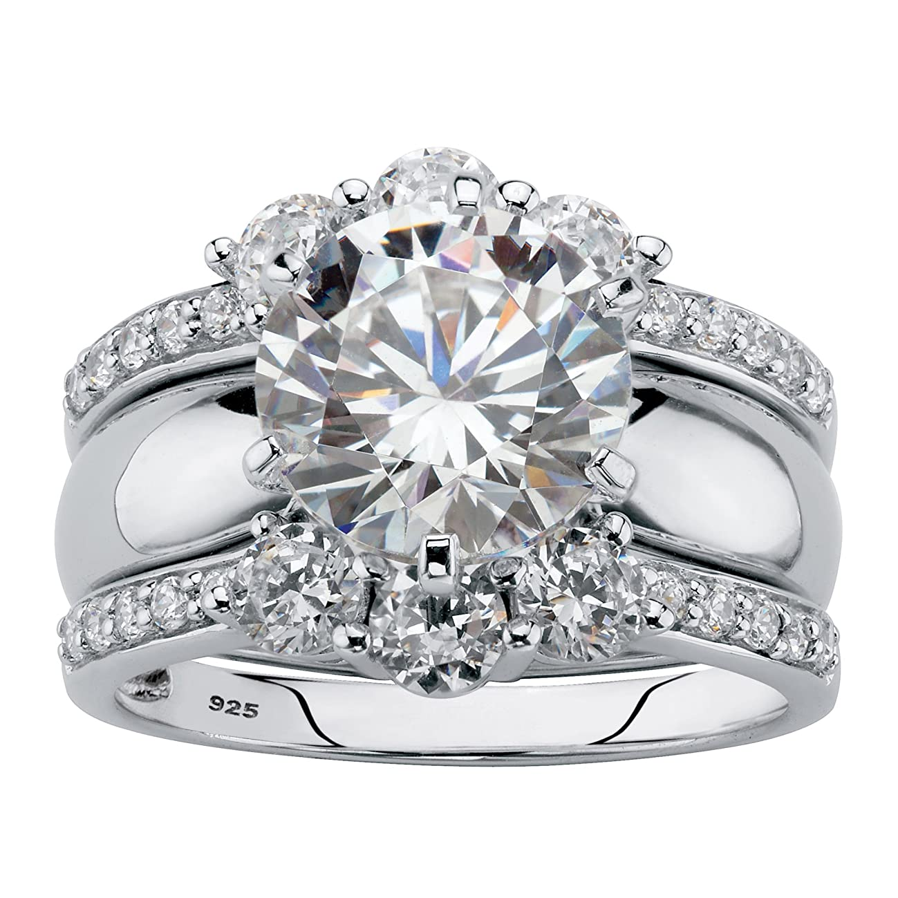 Platinum over Sterling Silver Round Cubic Zirconia Jacket Wedding Ring Set