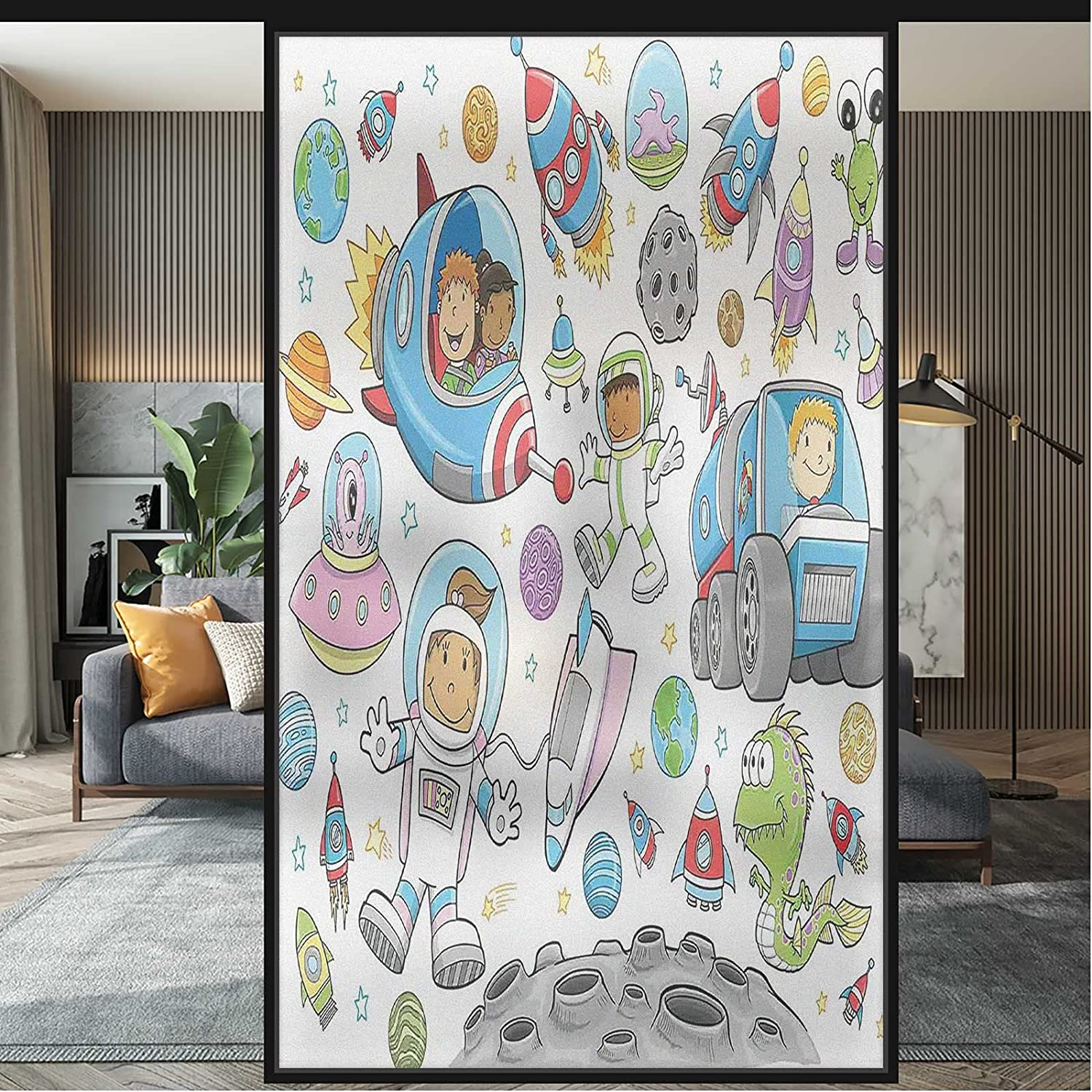 Stained Glass Window Film Space Gifts Opaque Rocket Kids Trust Static Cling