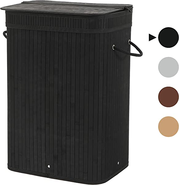 Sophia And William Laundry Hamper 72L Dirty Clothes Bamboo Storage Basket With Lid Liner And Handles Rectangular Black