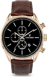 Luxury Men's Chrono S Wrist Watch - Top Grain Italian Leather Watch Band - 43mm Chronograph Watch - Japanese Quartz Movement…