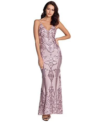 Betsy & Adam Long V-Neck Sequin Gown