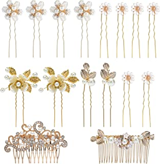 inSowni 16 Pack Wedding Headpieces Hair Side Combs+U Shaped Hair Pins Clips Pieces Barrettes Accessories Rhinestone Pearl ...