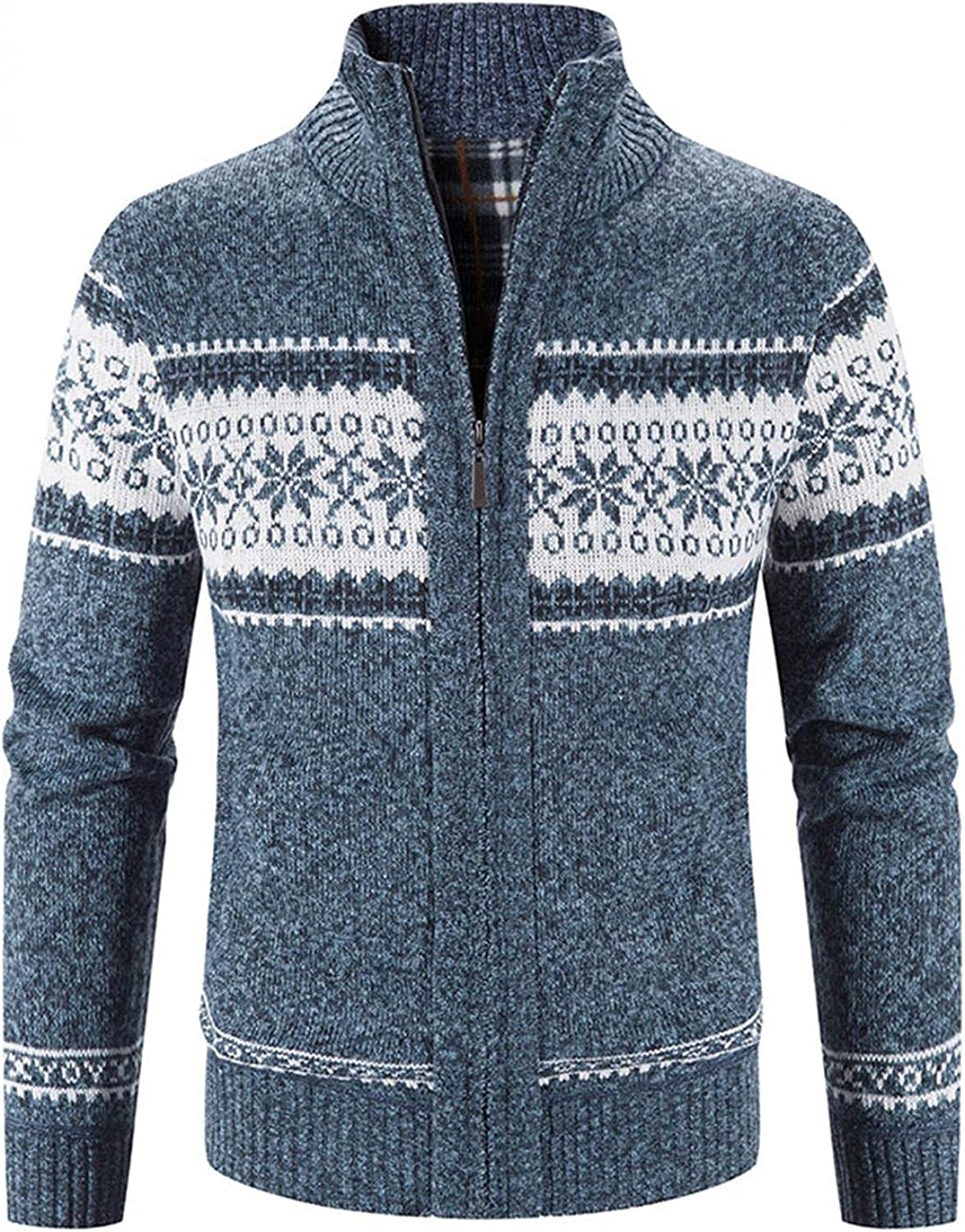 Mens Autumn Winter Knitted Sweater Stand Collar Cardigan Full Zip Thick Warm Coat Stripes Casual Slim Fit Jacket