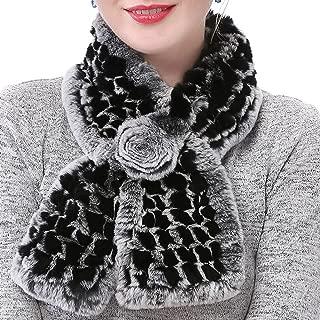 Valpeak Real Fur Scarves Women Winter Fur Neck Warmer Scarf Cold Weather Rabbit Knitted Fuzzy Fluffy