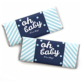 Hello Little One - Blue and Silver - Candy Bar Wrappers Boy Baby Shower Favors - Set of 24