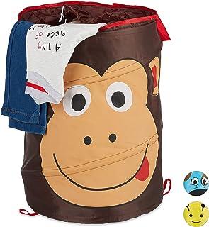 Relaxdays 10028897_938 Corbeille à linge pop-up pour enfants, pliable, 39 L de rangement, HxD: 43 x 34 cm, singe, couleur ...