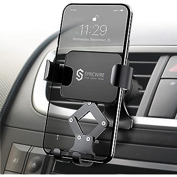 【2020最新版】Syncwire 車載ホルダー スマホホルダー 車 スマホ 重力式自動開閉 1台2役 スマホほるだー スマートフォンホルダー 車載スタンド エアコン吹き出し口用 クリップ式 落下防止 安定性抜群 iPhone11 Pro Max/ iPhone11/ iPhone XS/iPhone XR/iPhone 8P/iPhone 8/iPhone 7/iPhone 6/Galaxy S8/S9/S10 LG G6 V20など 4.7-6.5インチに対応