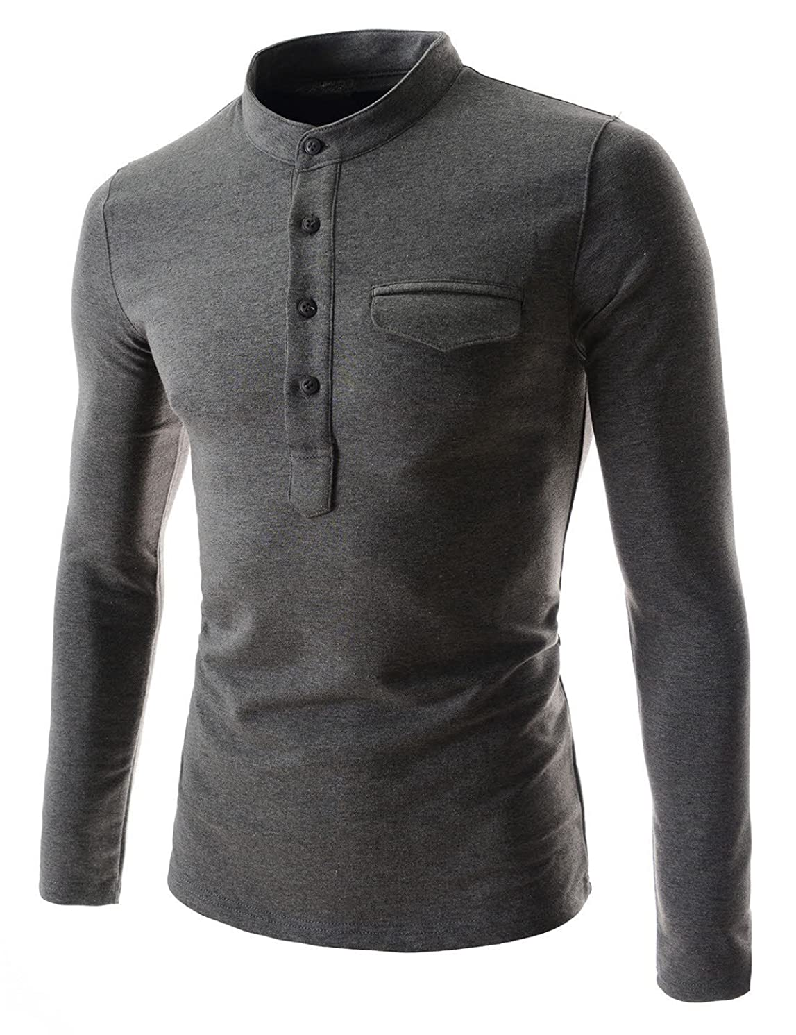 TheLees Mens casual slim fit button point long sleeve tshirts