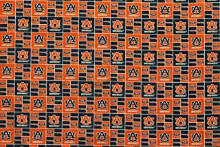 Auburn Tigers Football Checkered Sheeting Fabric Cotton 4 Oz 44-45