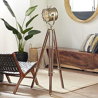 Benzara 46666 Unique Lamps - Brass Wood Studio Light