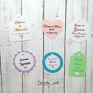 Cartellini per bomboniera personalizzati, vari colori, a partire da 20 pezzi, bigliettini, cuore, fiore, casa, etichette,m...