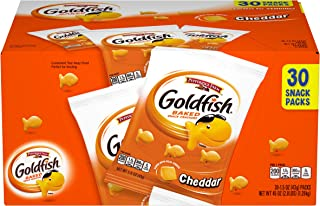 Pepperidge Farm Goldfish Cheddar Crackers, 30-count Multi-pack Box, 1.5 oz. Snack Packs Cheddar Snack Pack,s 45 Ounce