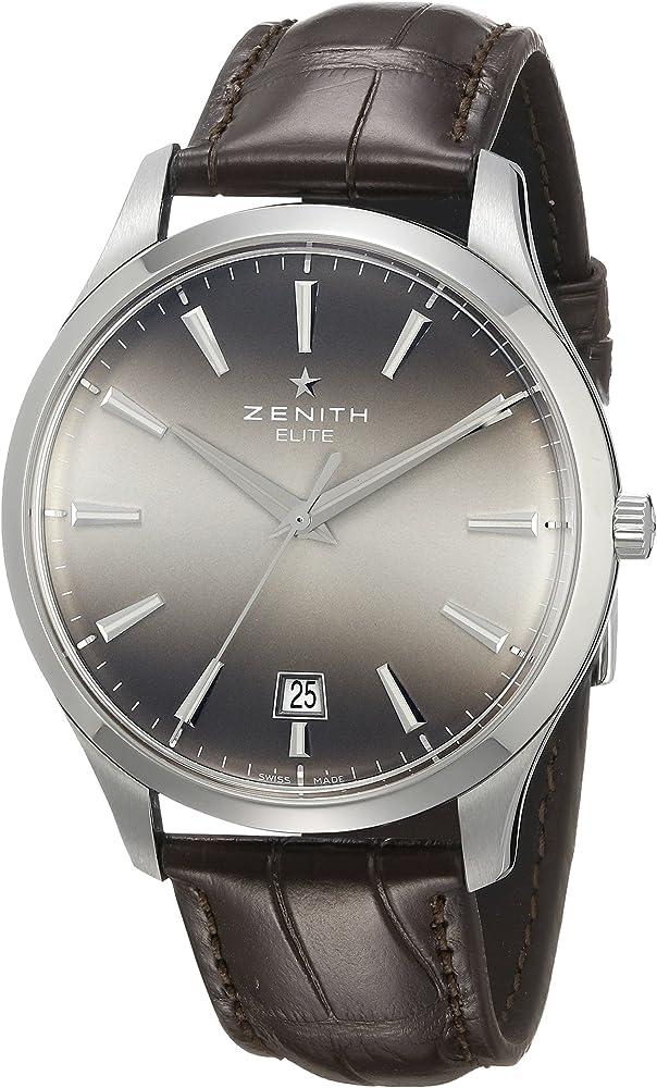 zenith capitano orologio automatico da uomo, cinturino in pelle 032020670.22c